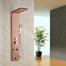 Rose Golden Bathroom Shower Column Multifunction Shower Panel Massage Jets W/ ABS Hand Shower