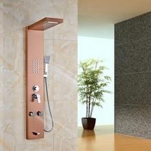 Rose Golden Bathroom Shower Column Multifunction Shower Panel Massage Jets W/ ABS Hand Shower