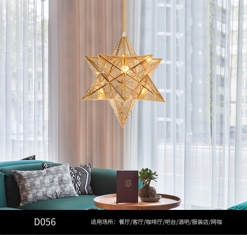 цена на Postmodern pentagram Nordic restaurant droplight Lounge bar hall bedroom personality stainless steel gold geometry