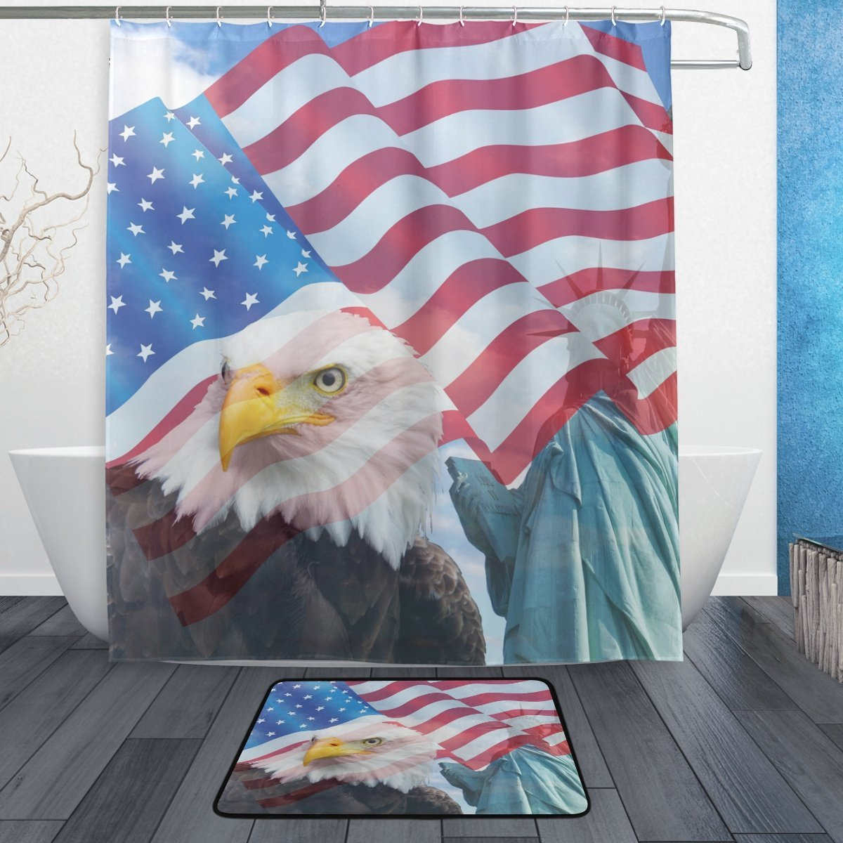 American Usa Flag Shower Curtain And Mat Set Patriotic