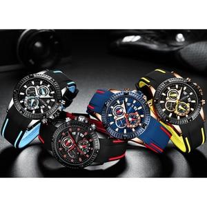 Image 4 - 남성 실리콘 시계 패션 스포츠 쿼츠 시계 남성 시계 브랜드 비즈니스 방수 크로노 그래프 시계 Relogio Masculino