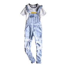 цены 2018 New Fashion Brand tide Hip-hop jeans Male Spring Summer Overalls Light Hole jeans Feet Big Pocket pants Size A-3XL 4XL 5XL