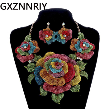 Bridal Jewelry Sets for Women Accessories Crystal Rhinestone Big Flower Gold Wedding Necklace and Earrings Set Party Jewellery