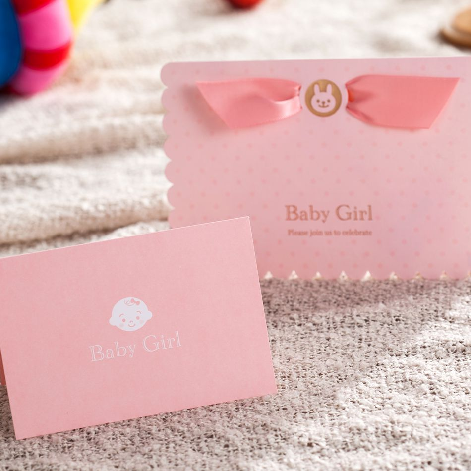 1 PCS Sample Cute Pink Girl Baby Shower Invitation Card Free ...