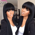 Glueless Full Lace Human Hair Wigs For Black Woman,Brazilian Lace Front Human Hair Wigs,Full lace wig With Bangs Bleached Knots