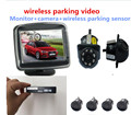 premium3.5 monitor vide wireless parking camera system 3.5lcd monitor+ LED rear view camera+wireless parking 4 radar kit sensor