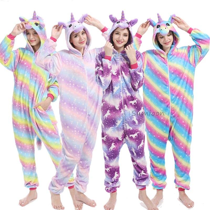 2019 Animal Unicorn Pajamas Adults Winter Sleepwear Kigurumi Stitch Panda Unicornio Pyjamas Women Onesie Anime Costumes Jumpsuit(China)