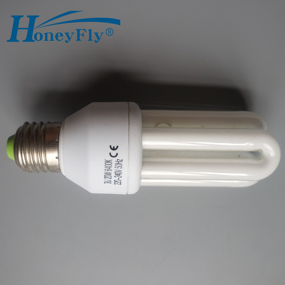 HoneyFly 3U Tube Energy Saving Lamp AC220-240V 15W/20W E27 U Shape Fluorescent Light Bulb Home Lighting
