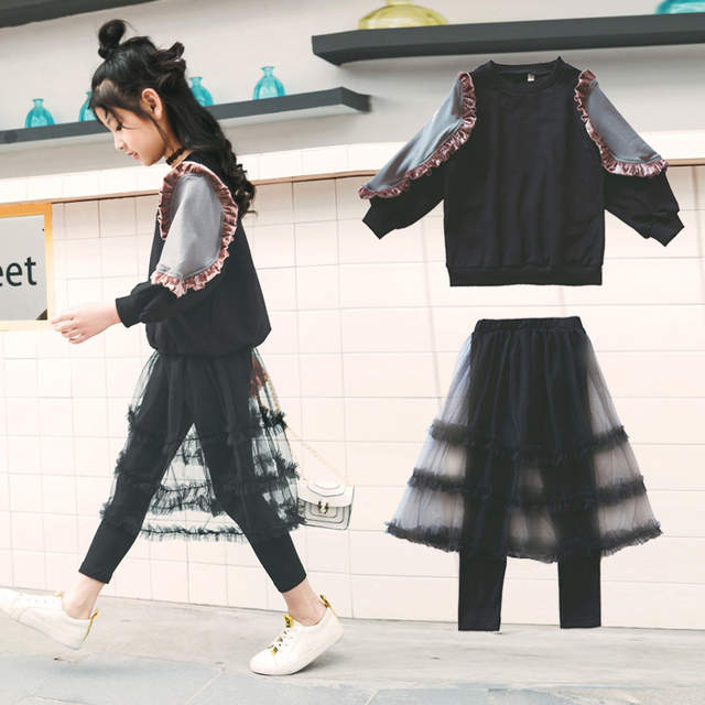 0d3a90a7e Children Clothing Girls Outfit Spring Long Sleeve Sweatshirt Mesh Skirt  Leggings Teenage Kids Girls Suit for