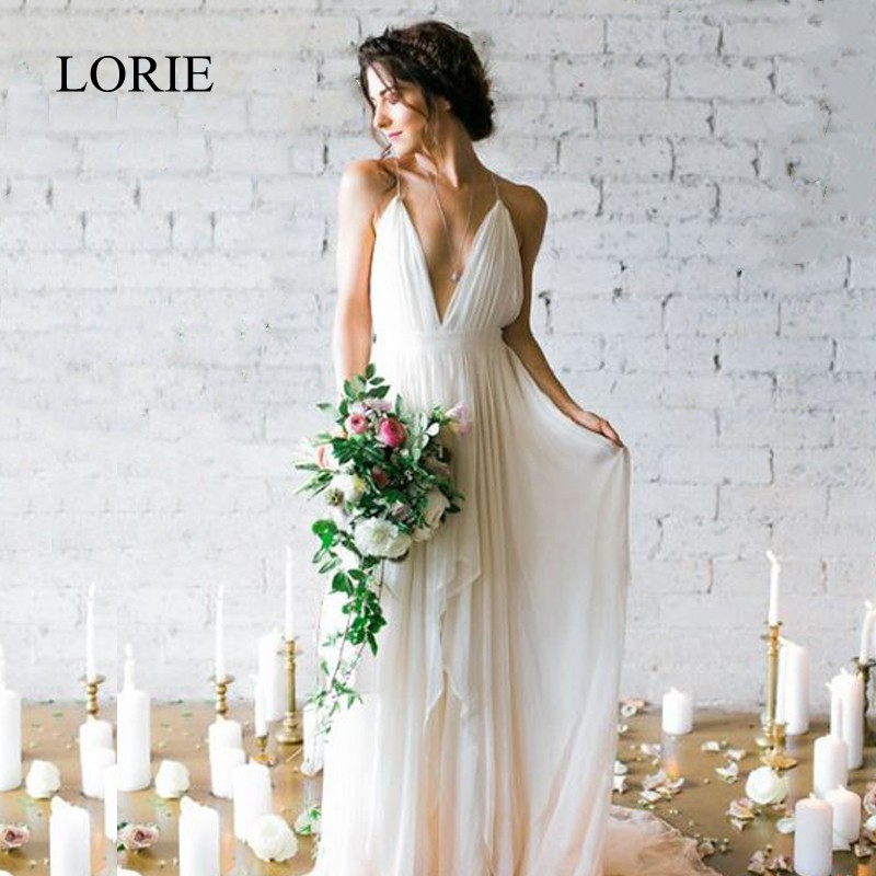 LORIE Simple Boho Wedding Dress Beach 2019 Robe De Mariee Plunging Sexy Bridal Dress Chiffon Wedding Dresses Spaghetti Straps