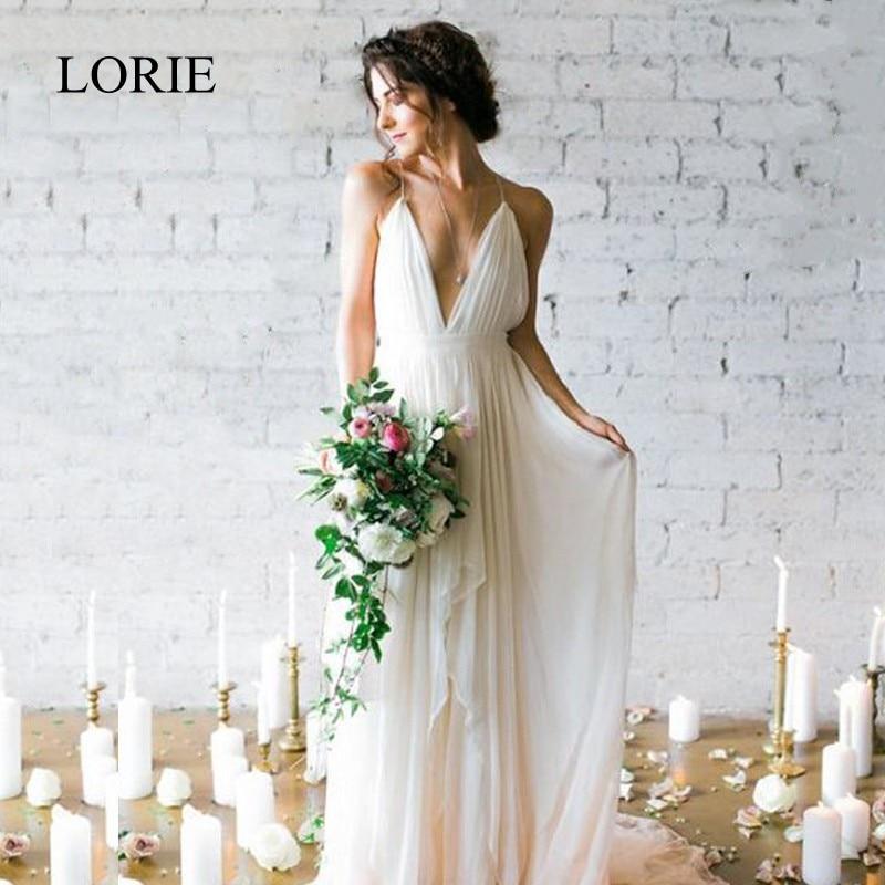 LORIE Simple Boho Wedding Dress Beach 2019 Robe De Mariee Plunging Sexy Bridal Dress Chiffon Wedding Dresses Spaghetti Straps