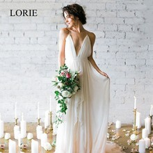 LORIE Simple Boho Wedding Dress Beach 2019 Robe de mariee Plunging Sexy Bridal Chiffon Dresses Spaghetti Straps