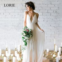 LORIE Simple Boho Wedding Dress Beach 2019 Robe de mariee Plunging Sexy Bridal Dress Chiffon Wedding Dresses Spaghetti Straps(China)