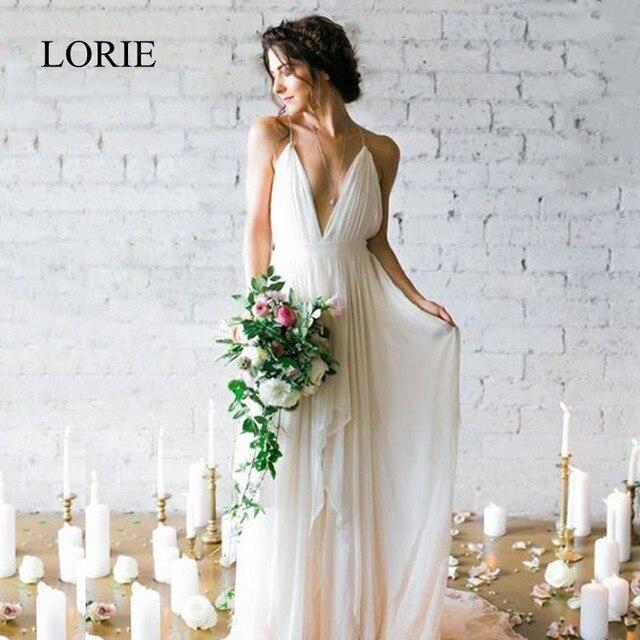 eba7068e82 LORIE Simple Boho Wedding Dress Beach 2019 Robe de mariee Plunging Sexy Bridal  Dress Chiffon Wedding Dresses Spaghetti Straps