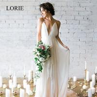 LORIE Simple Boho Wedding Dress Beach 2018 Robe de mariee Plunging Sexy Bridal Dress Chiffon Wedding Dresses Spaghetti Straps