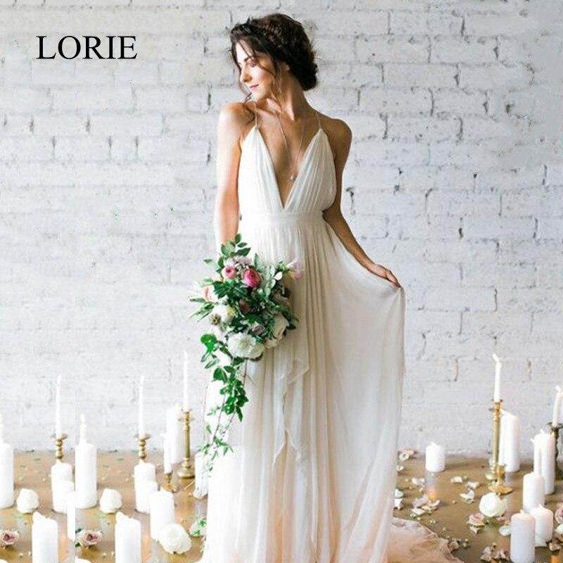 Lorie simples boho vestido de casamento praia 2019 robe de mariee mergulhando sexy vestido de noiva chiffon vestidos de casamento cintas de espaguete