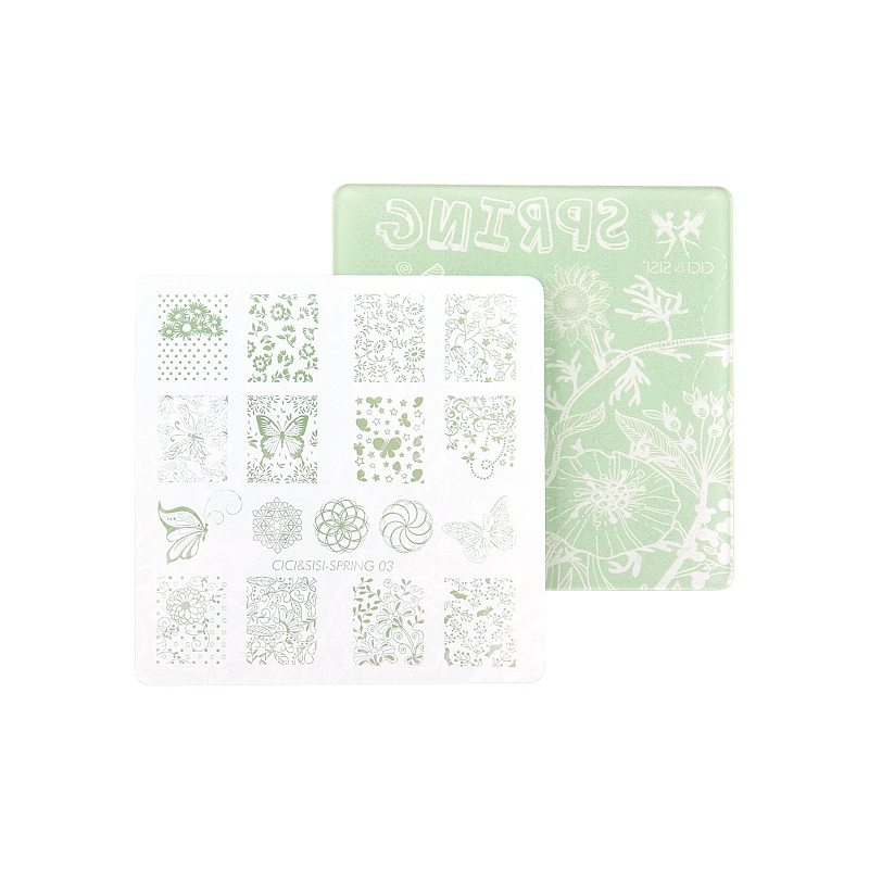 CICI&SISI Flower Pattern Nail Art Stamping Plates Template Image Nail Stamp Plate Manicure Decoration Pedicure Spring Series wholesales new a t series xl medium size stamp nail art stamping image plate print nail art large big template diy