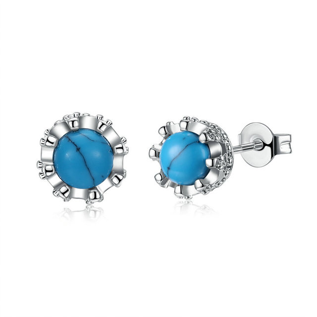 studs square indian earrings casual blue stone golden the