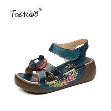 Tastabo Genuine Leather Gladiator Sandals Fashion Low Wedges Flower Summer Shoe Ladies Platform Sandals Shoes Women Flat Shoes
