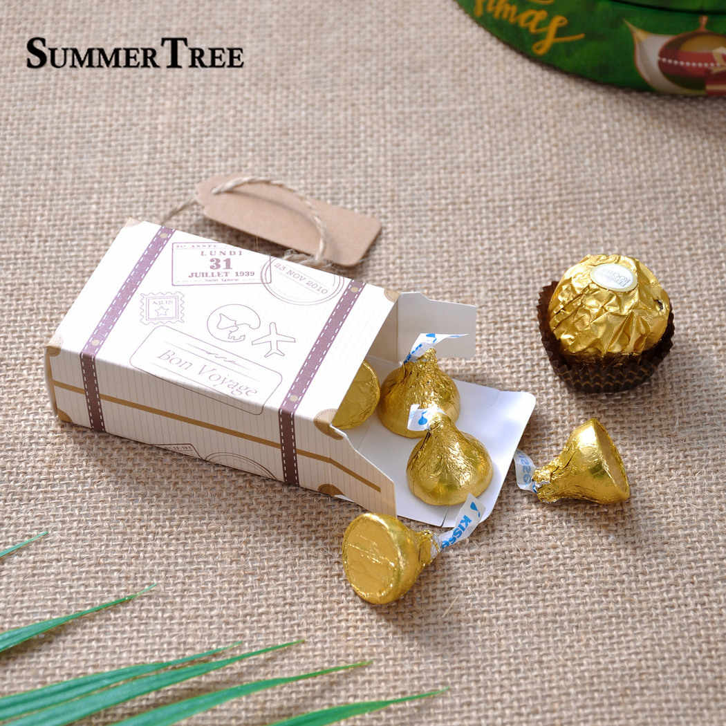 10 pçs mala caixa de doces bonbonniere sacos de presente de casamento viagem temático festa favores aniversário aniversário chá de fraldas decoração