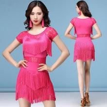 8fc35953 Latina roja trajes de baile mujer Salsa Ropa de baile vestidos de  competencia de baile vestidos Tango adulto flecos falda de enc.