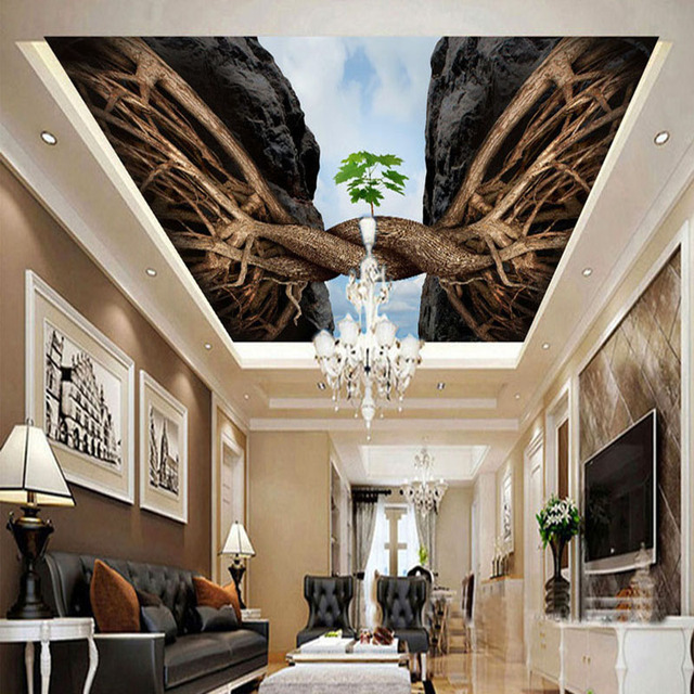 Personalized Customization Twisted Root 3D Ceiling Mural Fresco ...