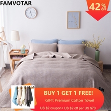 Famvotar Solid Color 3-piece Quilted Bedspread Fancy Vertical Pattern Summer Bedspreads Sofa Couch Blanket All Season Throws mw light 811040602 сандра