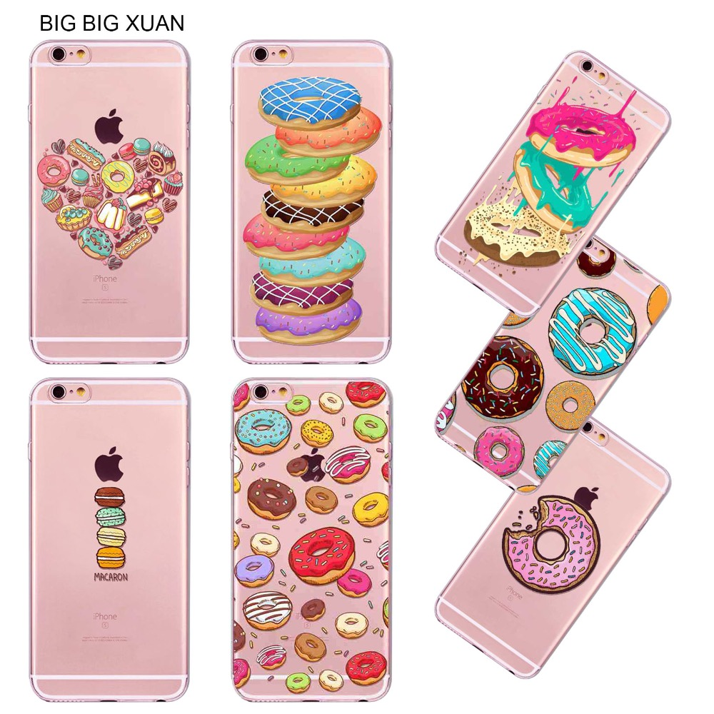 I5 I6 Summer For iPhone 5 5s 6 6s Phone Case Cover Rainbow Color Hamburger Donuts Macaron Dessert Fundas Celular Para