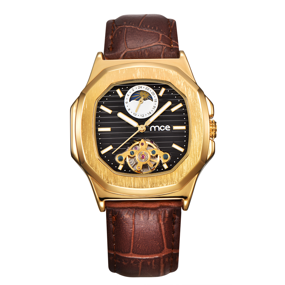 MCE Sports Mens Watches Top Brand Luxury Genuine Leather Automatic Mechanical Men Watch Classic Male Clocks High Quality Watch mce top brand mens watches automatic men watch luxury stainless steel wristwatches male clock montre with box 335