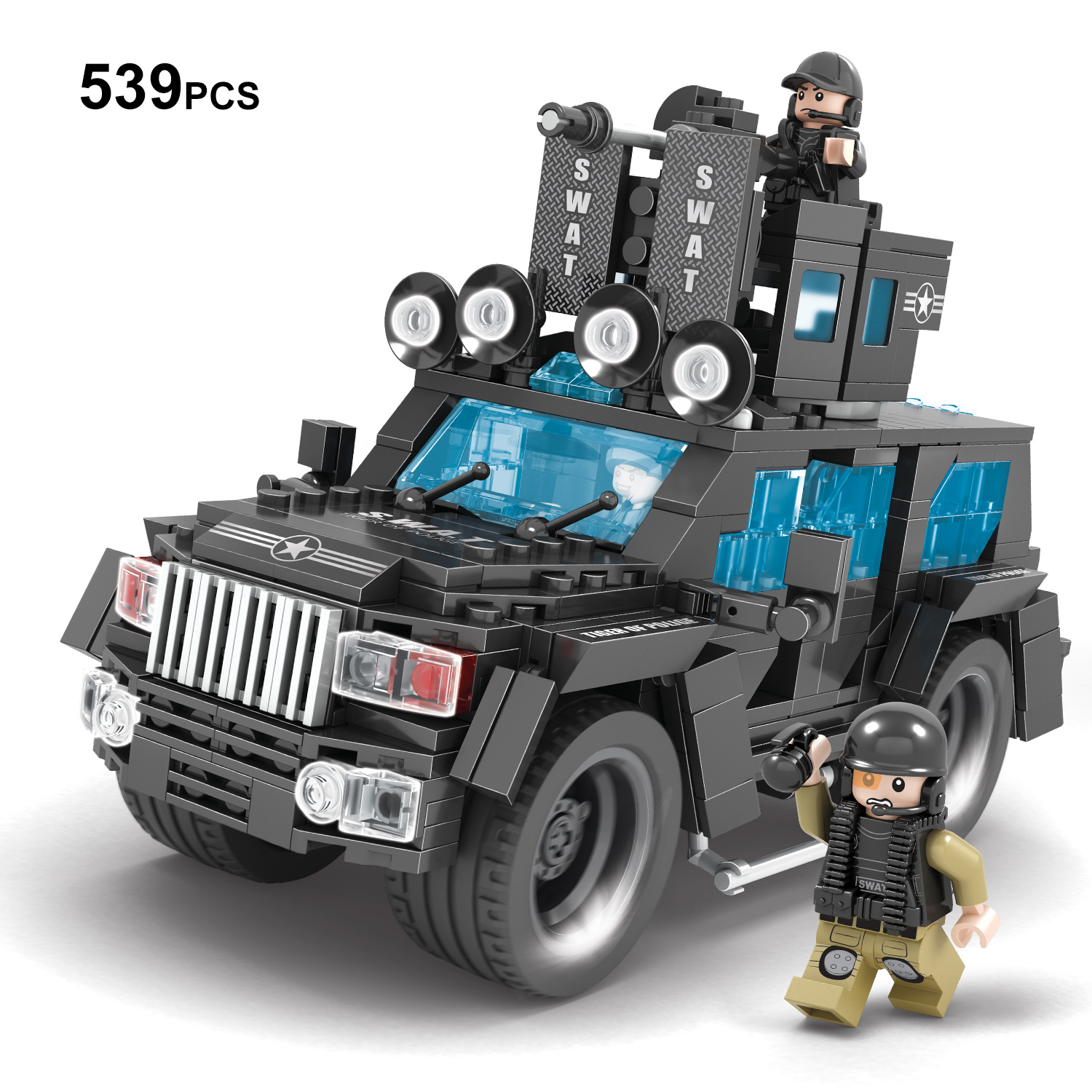 539 Military SWAT Trucks Building Blocks Set,Police Jeep Building Bricks Toy with Figures,2 Different Design for Building police station swat hotel police doll military series 3d model building blocks construction eductional bricks building block set