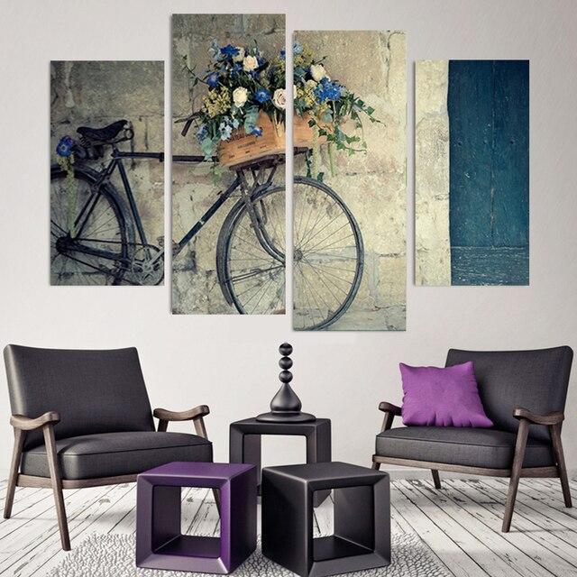4 Pieces Canvas Painting Vintage Home Decor Print Retro Bike Canvas ...