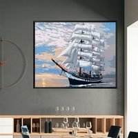 Massive Sailing Boat Return To Bank Safely Impressing No Frame Seascape Oil Painting By Numbers DIY