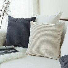 Nordic Cushion Covers Super-Soft Striped Velvet Corduroy Home Decorative Pillow Cover For Sofa 45x45cm Case