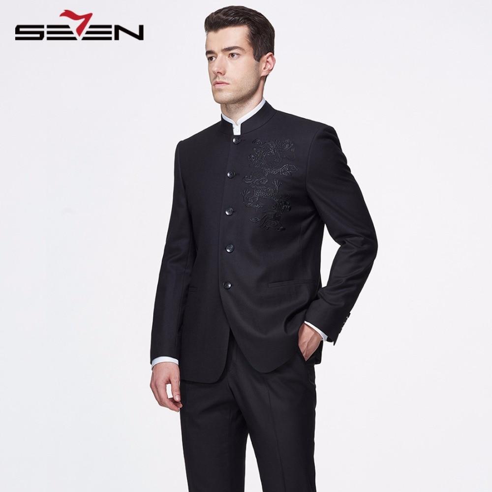 Seven7 2018 New Stylish Mens Suits Custom Made Mandarin Collar Vintage Formal Dress Suit Jacket Pants Slim Fit Tuxedos Clothes