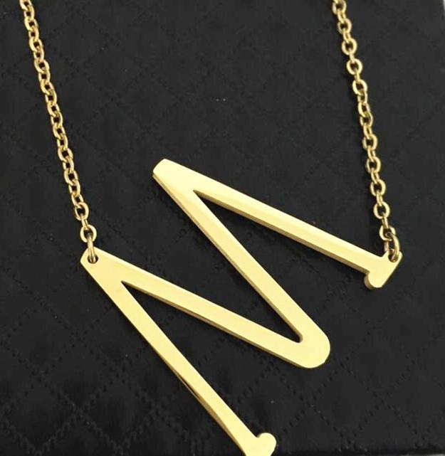 Fashion Big Letter M Necklaces Pendants women jewelry gold stainless steel chain alphabet Alfabet choker collier