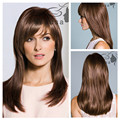 New Fashion Natural Brown Straight Wig for White Women Elegant Wigs Full Lace Puffy Synthetic Hair pieces with Oblique Bangs