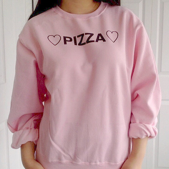651fed40 PIZZA hearts tumblr shirts Women Fashion Long Sleeve pink Sweatshirts  Cotton crewneck pullovers Top Jumper hoodies -in Hoodies & Sweatshirts from  Women's ...