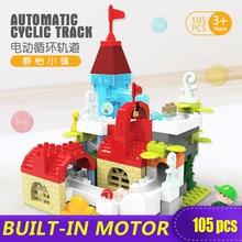 XINGBAO New 105PCS Electric Castle Slide Big Bricks Duplo Building Blocks Toy Childrens Novel Gift DIY Compatible with Logo