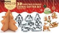 8PCS Set 3D Christmas Scenario Metal Cookie Cutter Stainless Steel Frame Cake Cookie Mold Bakeware Baking