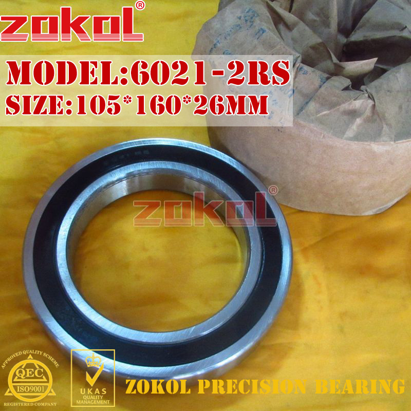 ZOKOL 6021RS bearing 6021 2RS RS 180121 6021-2RS Deep Groove ball bearing 105*160*26mm zokol bearing 6211 n 2rs 6211 2rsn snap ring groove deep groove ball bearing 55 100 21mm