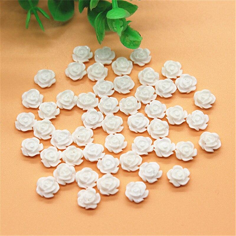 Набор из 100 шт., 8 мм, белые розы с плоской задней поверхностью, кабошоны для самостоятельного изготовления, скрапбукинга/дизайна ногтей