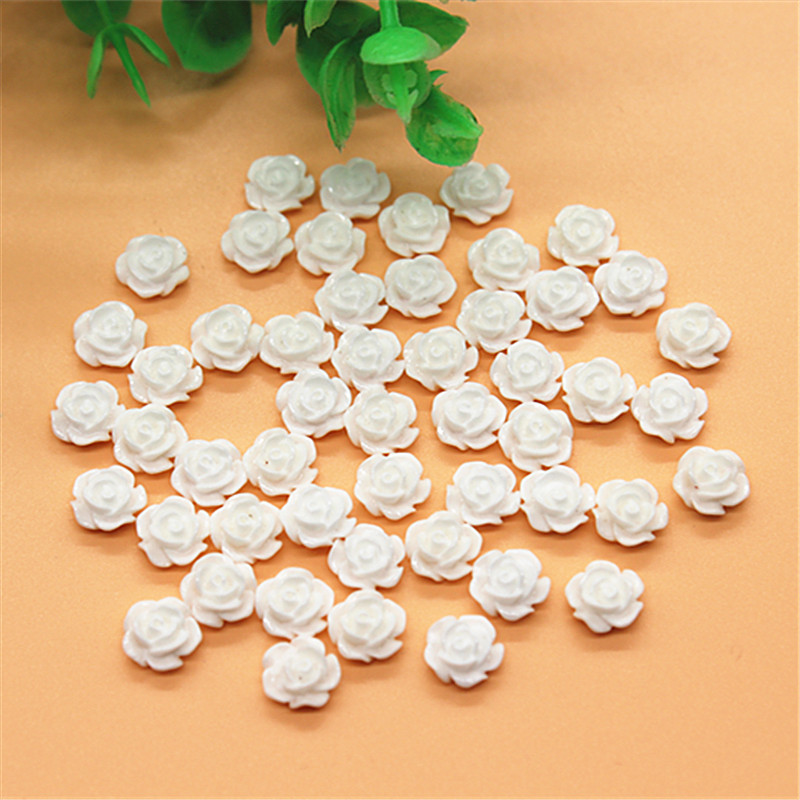 100pcs 8mm White Resin Little Rose Flower Flatback Cabochon DIY Decorative Craft Scrapbooking/Nail Art Deco