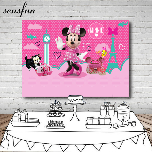 Sensfun Pink Dance Minnie Photography Backdrop For Little Girls Custom Vinyl Polka Dots Backgrounds For Photo Studio 7x5FT
