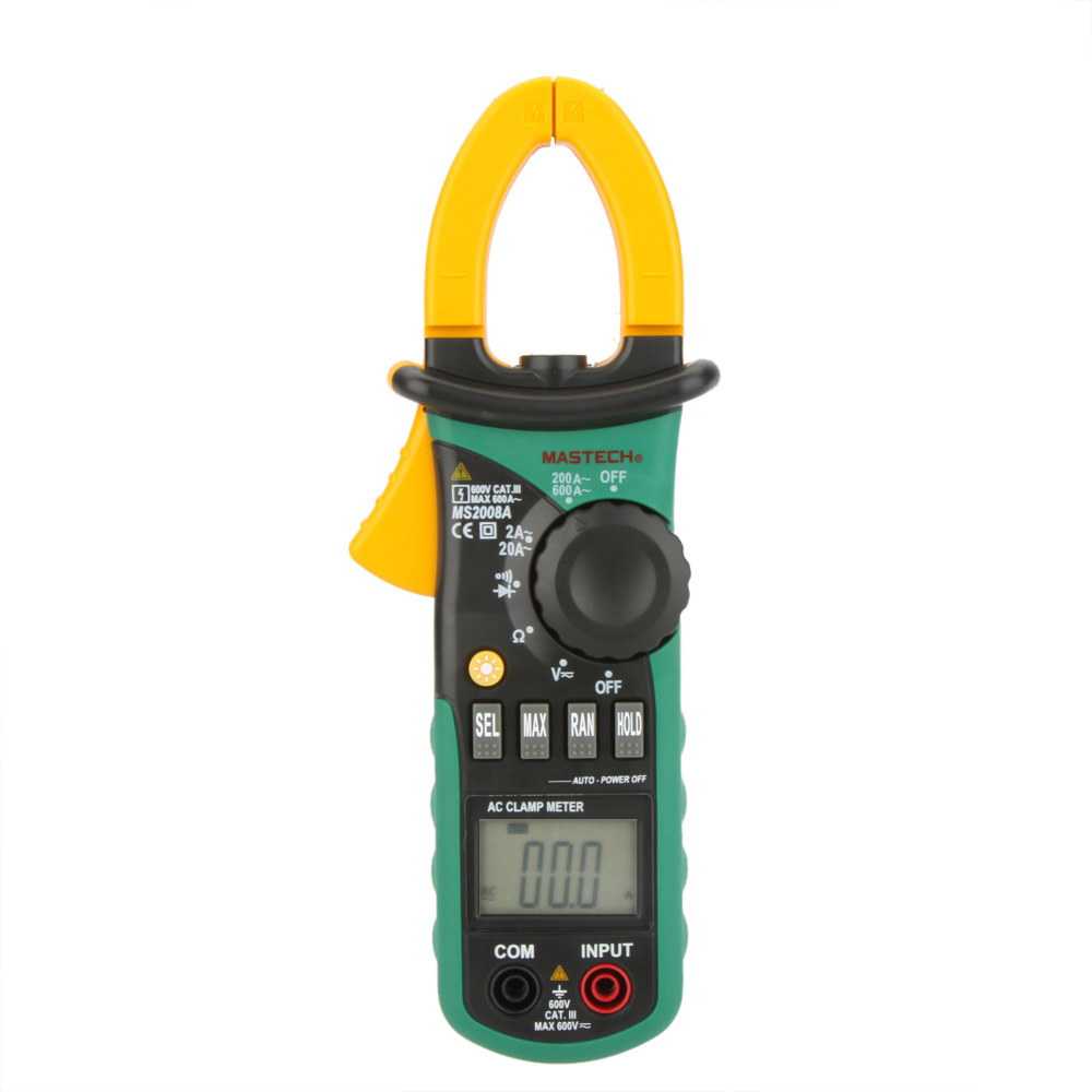 MASTECH MS2008A Digital Clamp Meters Auto Range Clamp Meter Ammeter Voltmeter Ohmmeter w/ LCD Backlight Current Voltage Tester vichy vc9806 digital multimeter dmm ammeter voltmeter ohmmeter w capacitance frequency