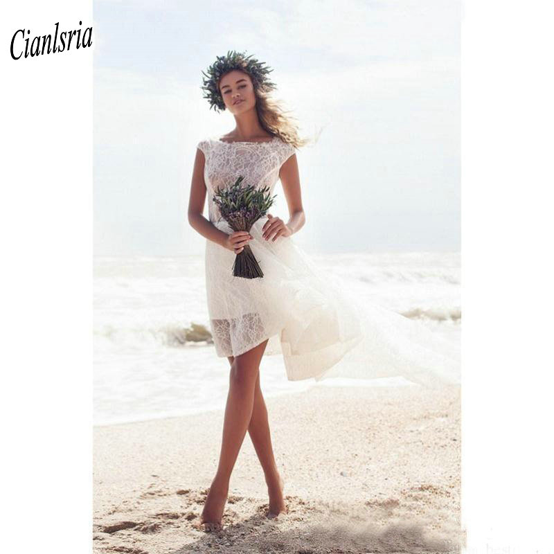 <font><b>Sexy</b></font> Backless High Low Beach <font><b>Wedding</b></font> <font><b>Dresses</b></font> Cheap Boat Neck Cap Sleeve Short Boho Custom Made <font><b>Wedding</b></font> <font><b>Dress</b></font> Vestido De Noiva image