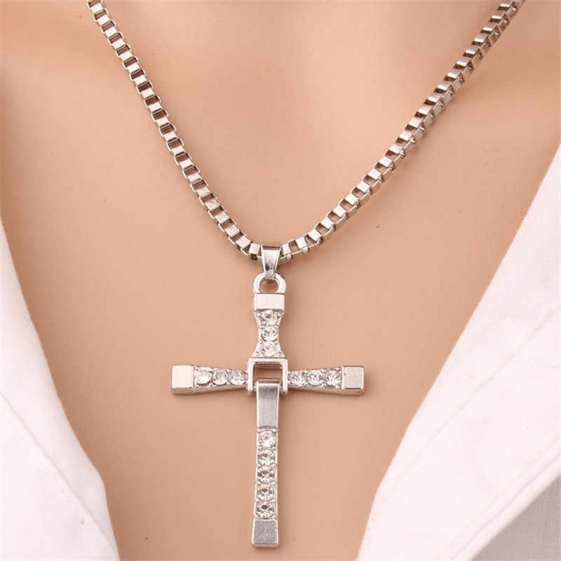 1 pcs Male Necklaces & Pendants Fashion Movie jewelry The Fast and The Furious Toretto Men Classic CROSS Pendant Necklace