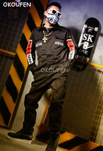 Men's Black Fashion Workout Uniform Street Dance Wear Hip Hop Bar Singer Nightclub DJ DS Costume Stage show performance Clothes