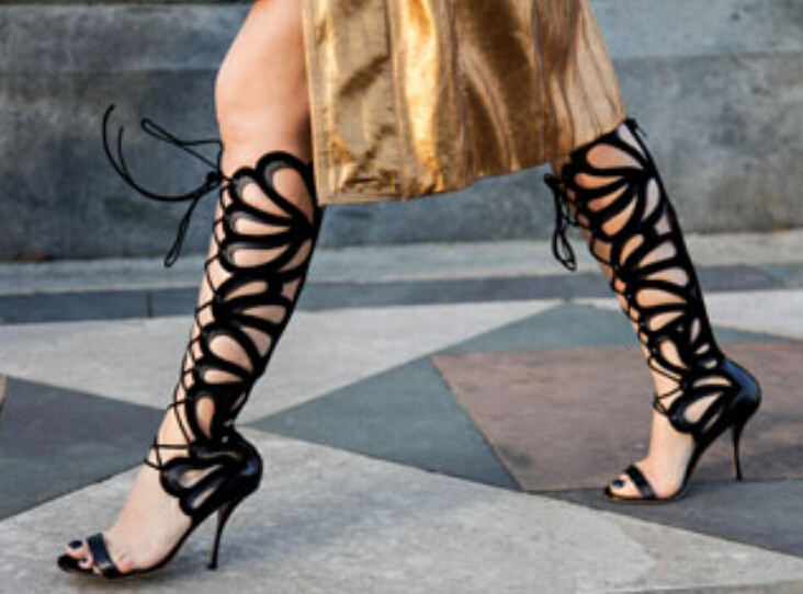 2017 black leather women summer boots peep toe cut-outs thin high heels lace up gladiator sandal women booties hot sale white and black lace up women pumps cut outs peep toe high heels sandals fashion mixed colors summer ankle boots