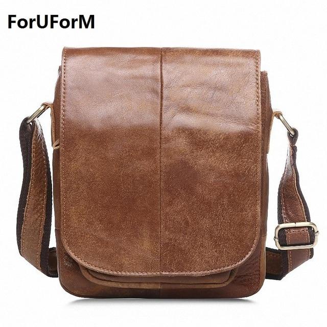 Vintage Casual 100% Genuine Leather Crazy Horse Cowhide Men bags Pack Small Shoulder Messenger Bags For Man Messenger Bag LI-870