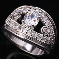 Good Looking Eye Shape White Zircon 925 Sterling Silver Jewelry Ring US# Size 6 / 7 / 8 / 9 S1557